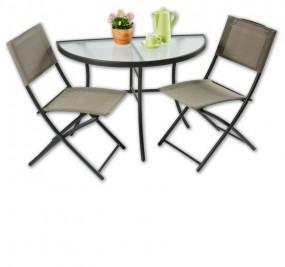 Zestaw mebli balkonowych stolik półokrągły + 2 krzesła meble ogrodowe metalowe