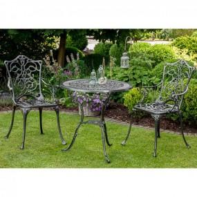 Zestaw grafitowych  mebli balkonowych aluminium meble ogrodowe metalowe