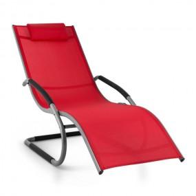 Leżak bujany czerwony leżanka + poduszka