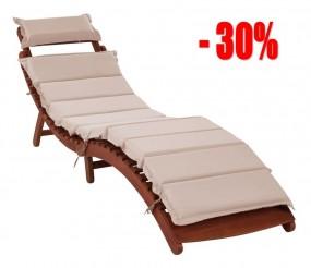 Leżak drewniany z dwustronnym materacem