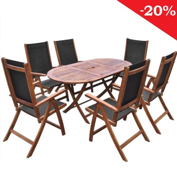 Meble ogrodowe drewniane 6 krzeseł+ stół komplet