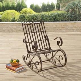 Krzesło ogrodowe bujane białe brązowe