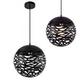 Lampa metalowa ażurowa czarna okrągła