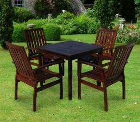 Meble ogrodowe drewniane 4 krzesła+ stół komplet