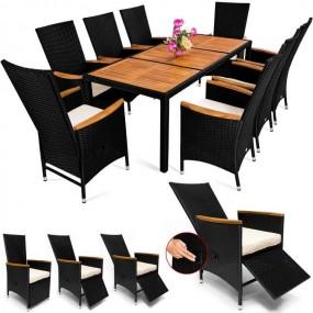 Meble ogrodowe rattanowe stół + 8 rozkładanych foteli