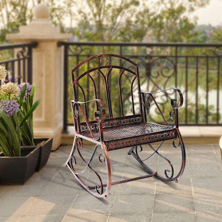 Krzesło Ogrodowe Bujane Brązowe Fotel Bujany