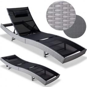 Leżak polirattan srebrno-czarny
