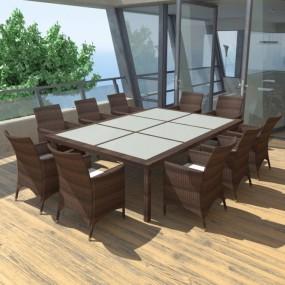 Meble ogrodowe rattanowe zestaw dla 10 osób brązowy stół+krzesła