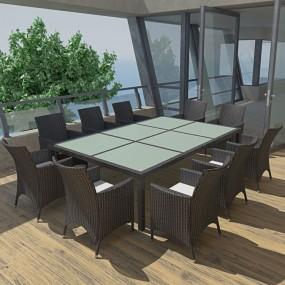Meble ogrodowe rattanowe zestaw dla 10 osób czarny stół+krzesła