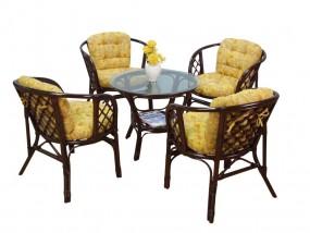 Meble ogrodowe rattanowe stolik+ 4 krzesła ciemny brąz