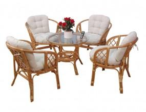 Meble ogrodowe rattanowe stolik+ 4 krzesła brąz