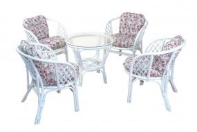 Meble ogrodowe rattanowe stolik+ 4 krzesła biały