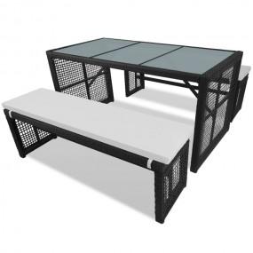 Zestaw ogrodowy czarny rattan  stół + 2 ławki