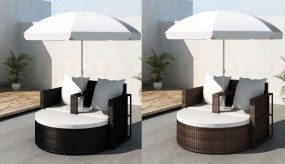 Leżak dwuosobowy meble ogrodowe z rattanu+ parasol meble ogrodowe rattanowe