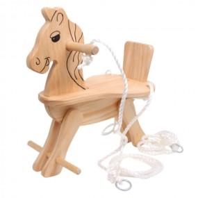 Huśtawka dla dzieci drewno koń na biegunach
