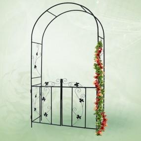 Żelazna pergola ozdobna do ogrodu z furtką