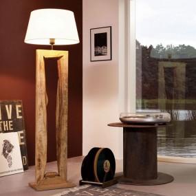 Lampa podłogowa drewno + tkanina