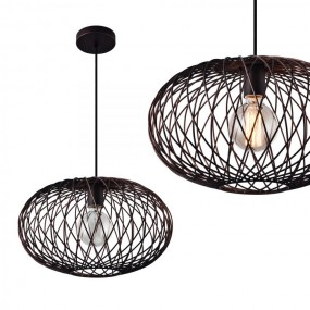 Lampa vintage metalowy abażur retro żyrandol brąz