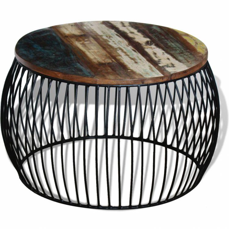 Niewiarygodnie Stolik kawowy drewniany okrągły 68x35cm żelazo - sklep Kochamymeble.pl WA59