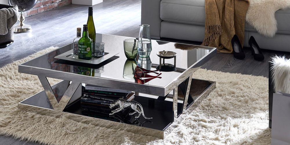 Unikalne Stolik kawowy srebrny ława 100cm połysk czarne szkło - outlet GS42