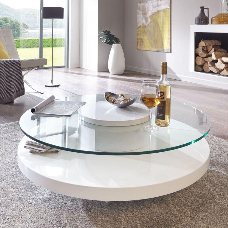 Masywnie Stolik kawowy ława okrągła biała połysk szkło - outlet DK75