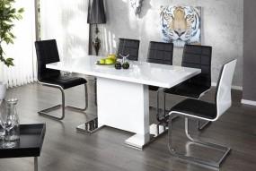 Stół do jadalni wysoki połysk biały 120-160 rozkładany