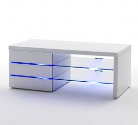 Szafka pod telewizor wysoki połysk LED biała