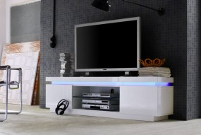 Stolik pod TV w połysku + LED z pilotem 175cm biała