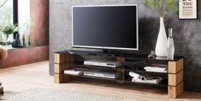 Stolik pod TV szafka szkło drewno 160cm hit!