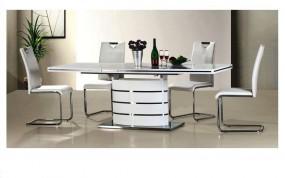 Stół biało-srebrny do jadalni wysoki połysk 140/200cm