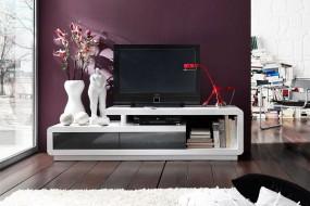 Szafka pod telewizor 170cm połysk  biała szuflady