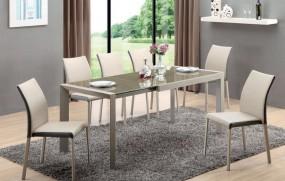 Rozkładany szklany stół w  kolorze jasnego brązu i beżu 122-182 cm