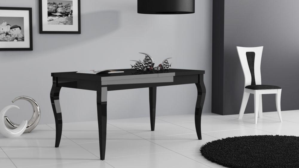 Masywnie Stół rozkładany biały lub czarny na wysoki połysk 135/175 cm DJ18