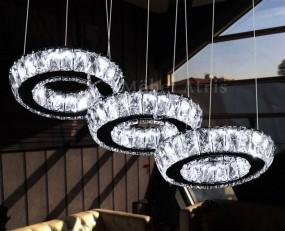 LAMPA SUFITOWA ŻYRANSOL KRYSZTAŁY SZKALNE KOŁA LED