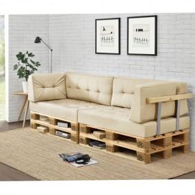 Sofa 4-osobowa palety beżowa poduszki meble z palet meble paletowe