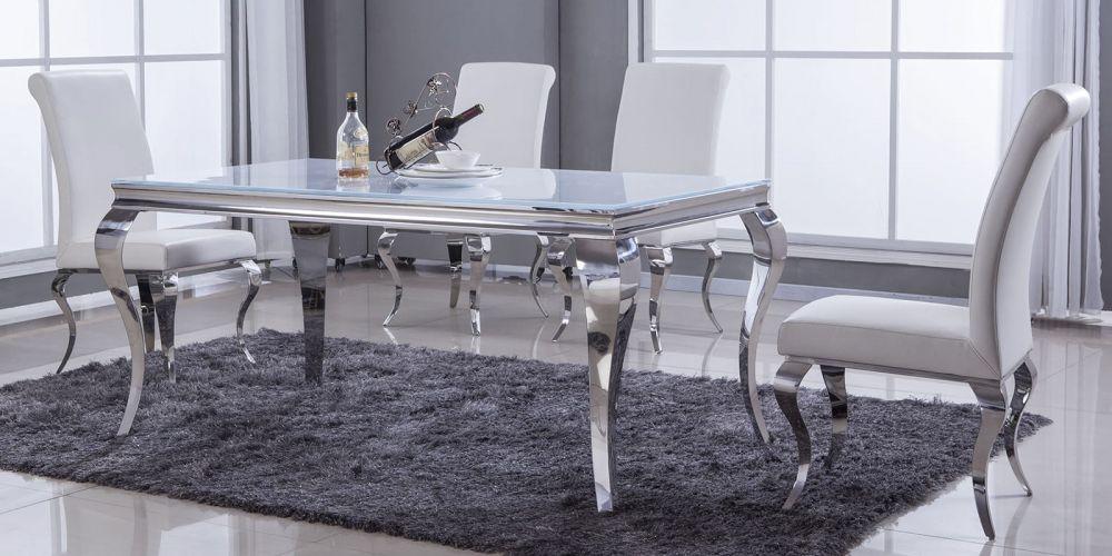 Chwalebne Ekskluzywny stół do jadalni 160 cm szklany blat - sklep WF55