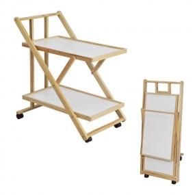 Wózek kuchenny drewniany regał na kółkach półki taca