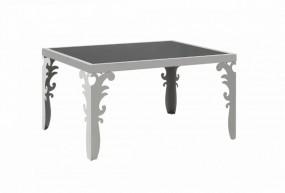 Lustrzany stolik kawowy 80cm ława szklana stalowy chrom czarne szkło szyba