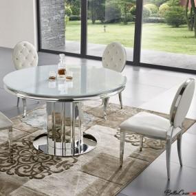 Stół do jadalni 120cm stolik ława okrągła szklany blat stal stół glamour owalny
