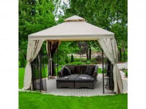 Pawilon ogrodowy namiot moskitiera ściany boczne ecre kwadrat ogród materiał