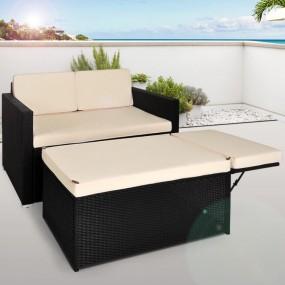 Sofa ogrodowa rattanowa leżanka czarna poduszki rattan schowek ogród podnóżek