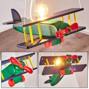 Lampa sufitowa wisząca samolot lampa dziecięca salon oświetlenie chłopiec drewno
