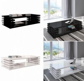 Stolik kawowy wysoki połysk ława pokojowa stół 120cm  schowek półka chrom biała czarna