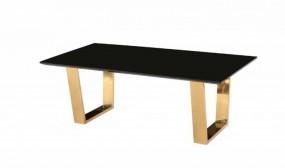 Stolik kawowy ława pokojowa 130cm stół złote nogi metal drewno czarny blat połysk