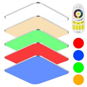 Lampa sufitowa LED zmiana koloru RGB 36W pilot do przyciemniania prostokąt plafon lampa ścienna