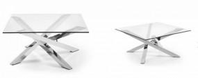 Stolik kawowy kwadratowy 90cm ława pokojowa szklana srebrna metal szkło hartowane szyba