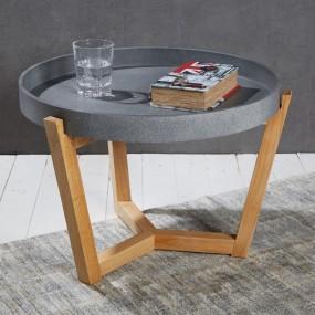Nowoczesny stolik kawowy szary zdejmowana taca ø 55 cm ława stół okrągły z drewna