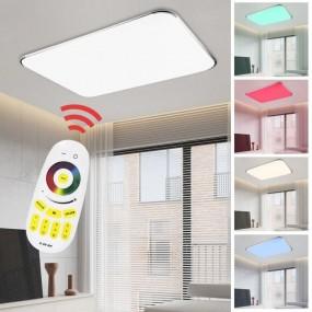Lampa sufitowa LED zmiana kolorów RGB 48W + pilot do ściemniania prostokąt plafon lampa ścienna