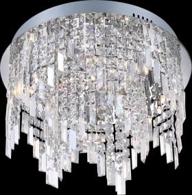 Lampa sufitowa okrągła kryształ plafon ciepła biała wisząca
