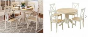 Stół do jadalni rozkładany + 4 krzesła drewno komplet dąb 100-131cm gruby blat owalny okrągły ława stolik zestaw